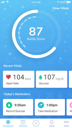 Buddy app, showing the Buddy score page.