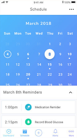 Buddy app, showing the scheduling and reminders page.