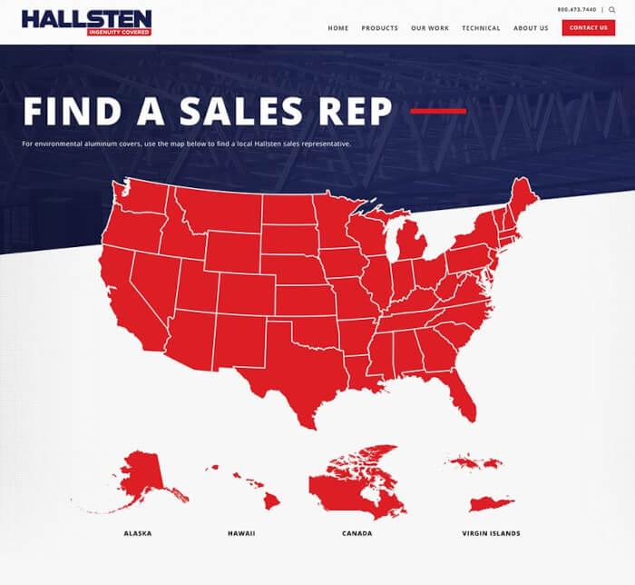 Hallsten website, find a sales rep page